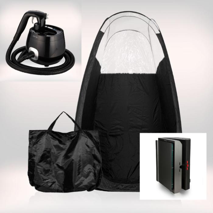 Tanning Essentials™ 'Pro-V' Spraytan Maskine inkl. Spraytan Telt og Turbo Twister Afledningsmaskine.