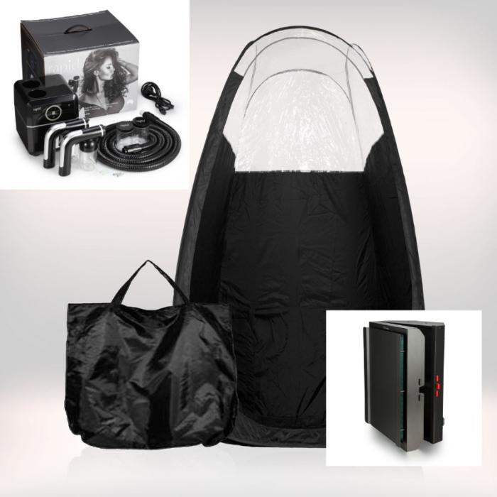 Tanning Essentials™ 'Rapid Tan' Spraytan Maskine inkl. Spraytan Telt og Turbo Twister Afledningsmaskine.
